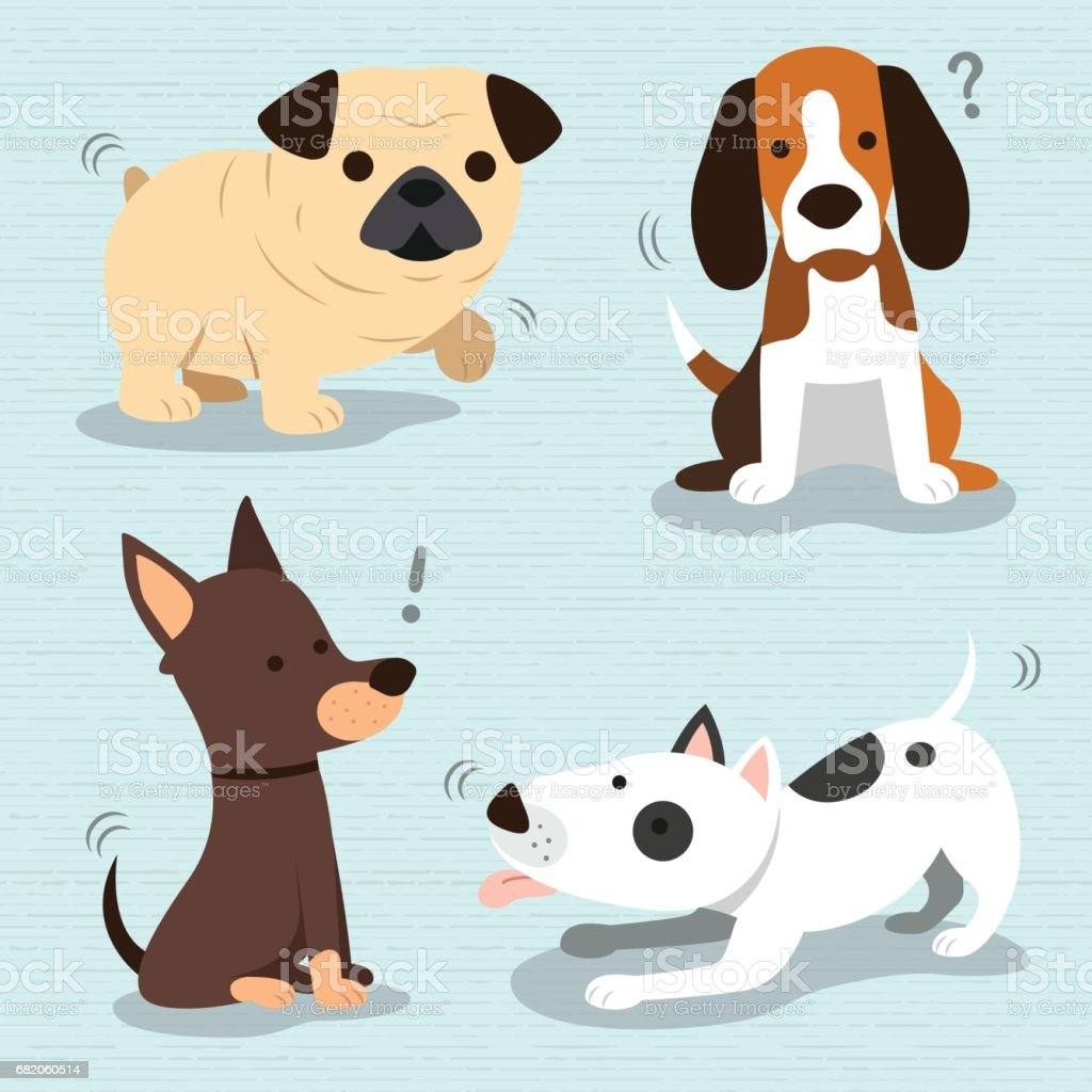 Cute Dogs Breed - ilustración de arte vectorial