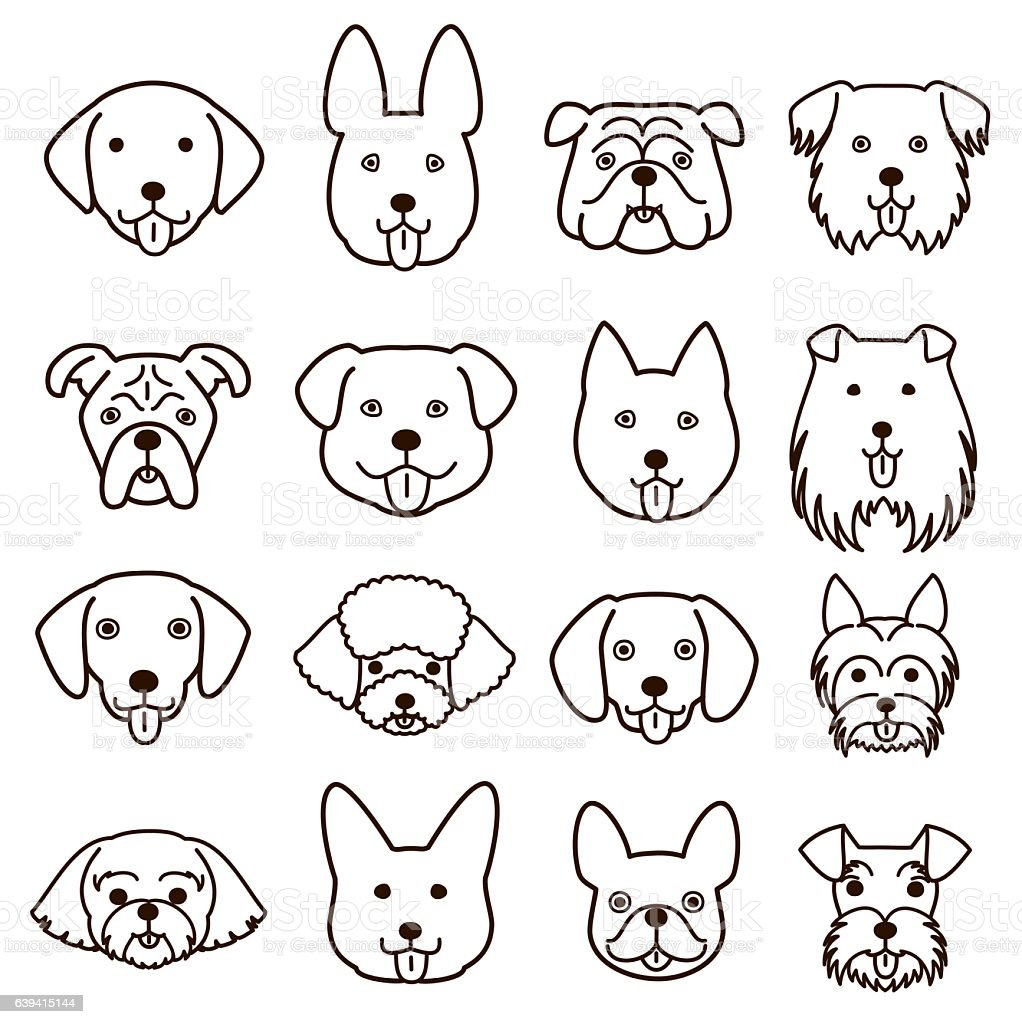 Line Drawing Of Animal Faces : Cute dogs faces line art set stock vector more