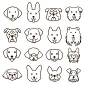 cute dogs faces line art set