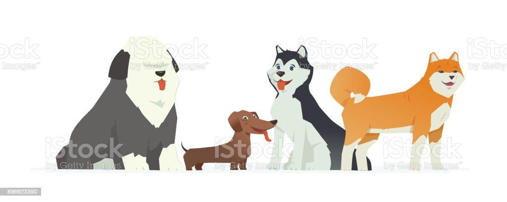 Cute dogs - modern vector cartoon characters illustration – artystyczna grafika wektorowa