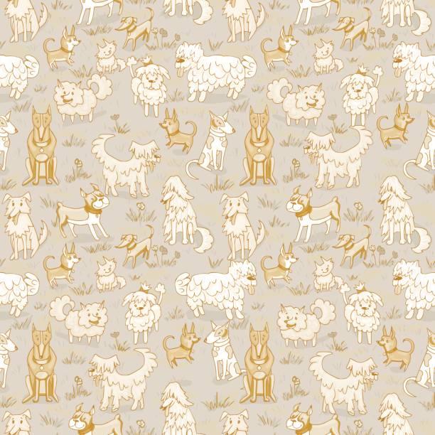Cute dogs pattern. Seamless vector illustration Cute dogs pattern. Seamless vector illustration with bulldog, bobtail, dachshund, bullterrier, doberman, spitz, chihuahua bobtail squid stock illustrations