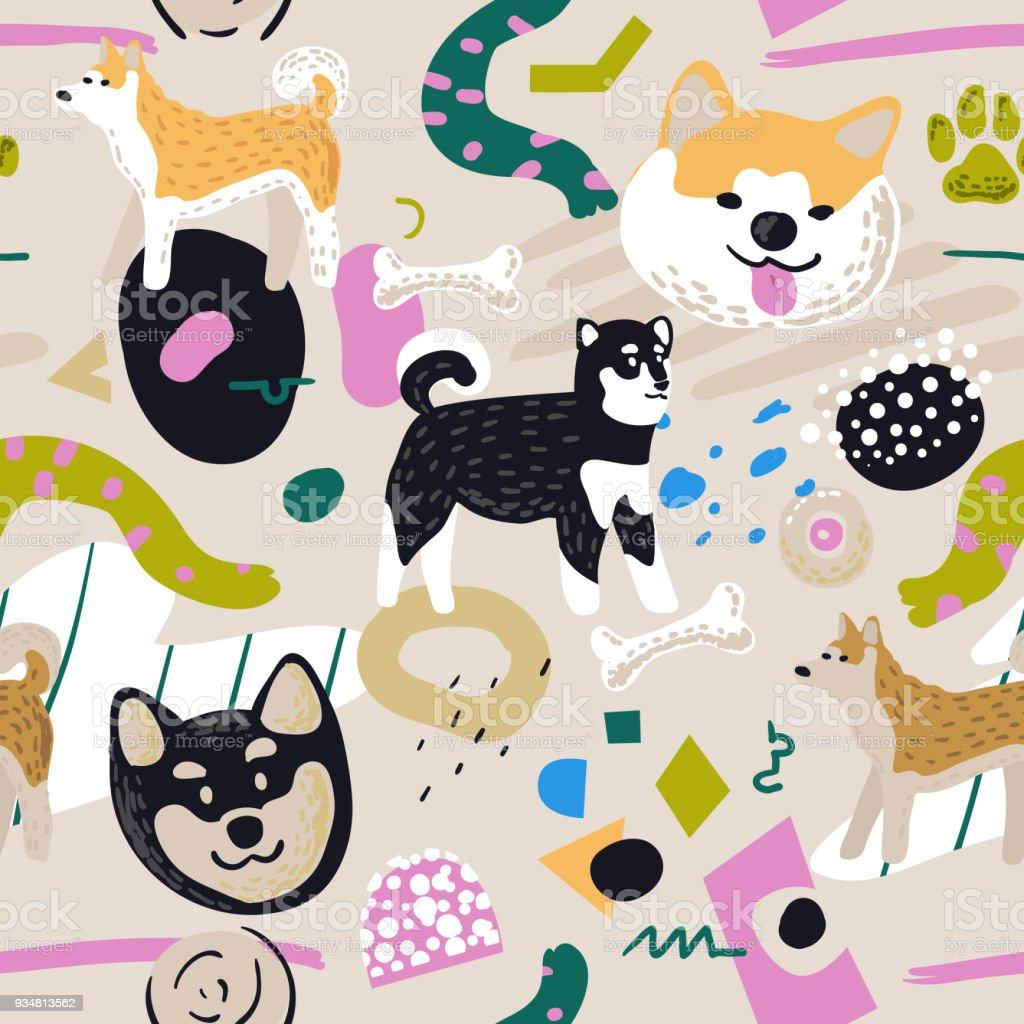Cute Dogs Seamless Pattern. Childish Background with Akita Inu and Abstract Elements. Baby Freehand Doodle for Fabric Textile, Wallpaper, Wrapping. Vector illustration – artystyczna grafika wektorowa
