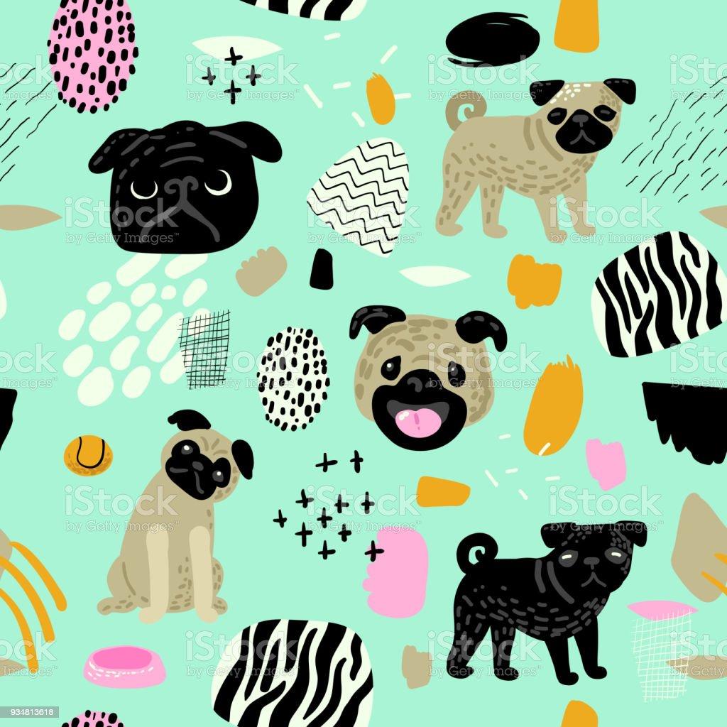 귀여운 개 완벽 한 패턴입니다. 퍼 그 강아지와 추상 요소 유치 배경입니다. 아기 직물 섬유, 벽지, 포장지에 대 한 자유 낙서. 벡터 일러스트 레이 션 - 로열티 프리 강아지-개 벡터 아트