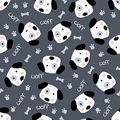 Cute doodle dogs, bones and paws  seamless pattern