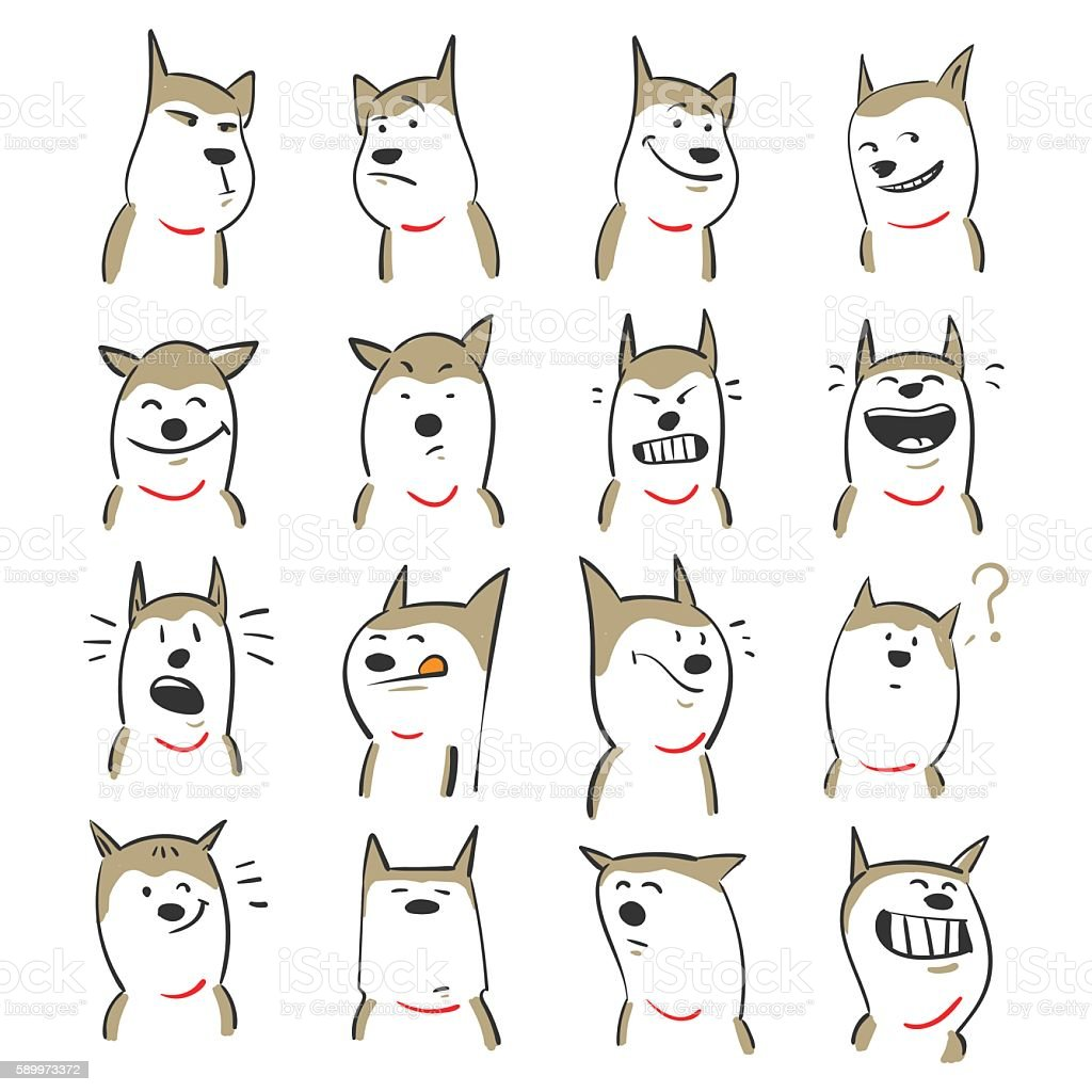 Cute dogs vector art illustration
