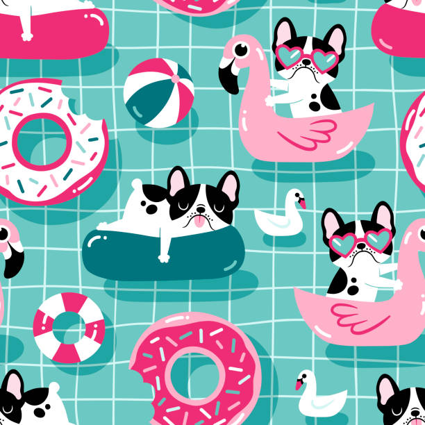 Cute dogs with pool floats in a swimming pool. Seamless vector pattern. floating on water stock illustrations