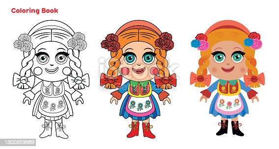 istock Cute doll, coloring page 1300659989