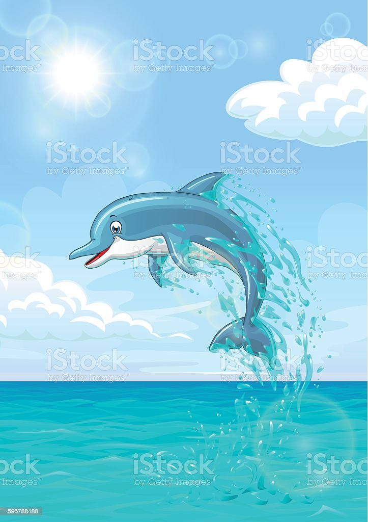 Cute dolphin in summer sea векторная иллюстрация