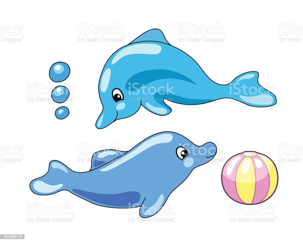 Cute dolphins with playing ball vector illustration in cartoon style. vector art illustration