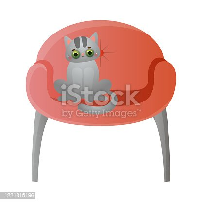 Cute domestic grey cat with green eyes sitting on the soft red chair. Sweet house pet resting in the house concept. Isolated vector illustration on white background in cartoon style.
