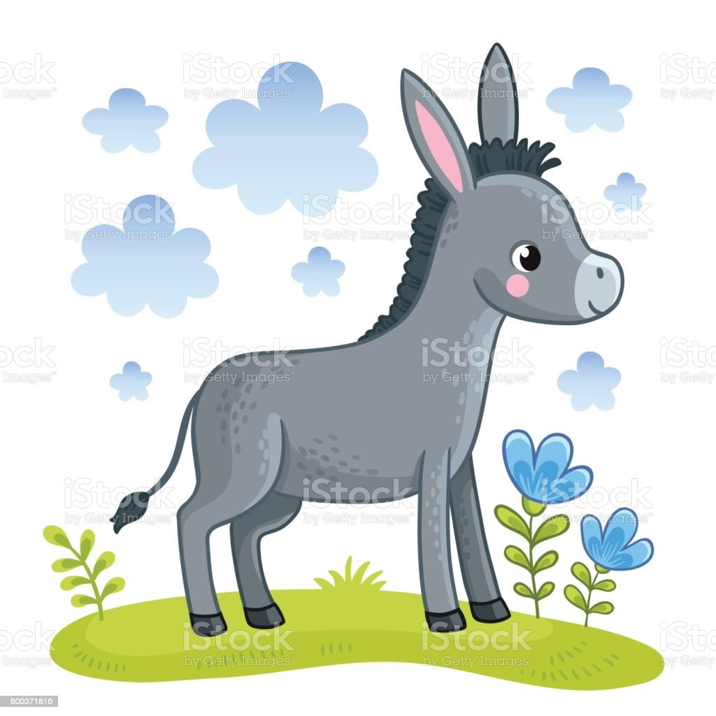 A cute donkey is standing in a clearing. - illustrazione arte vettoriale