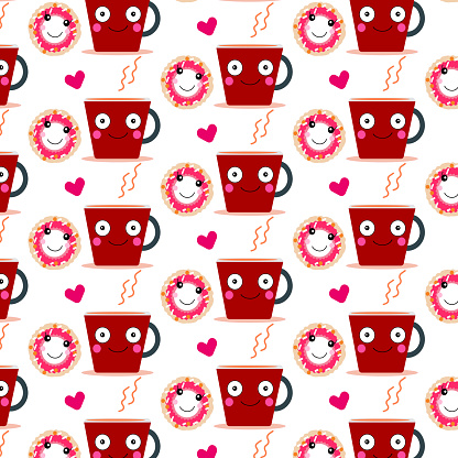 cute donut and coffee  pattern background  ,couple  concept  design  cartoon  for art and print  vector eps.10