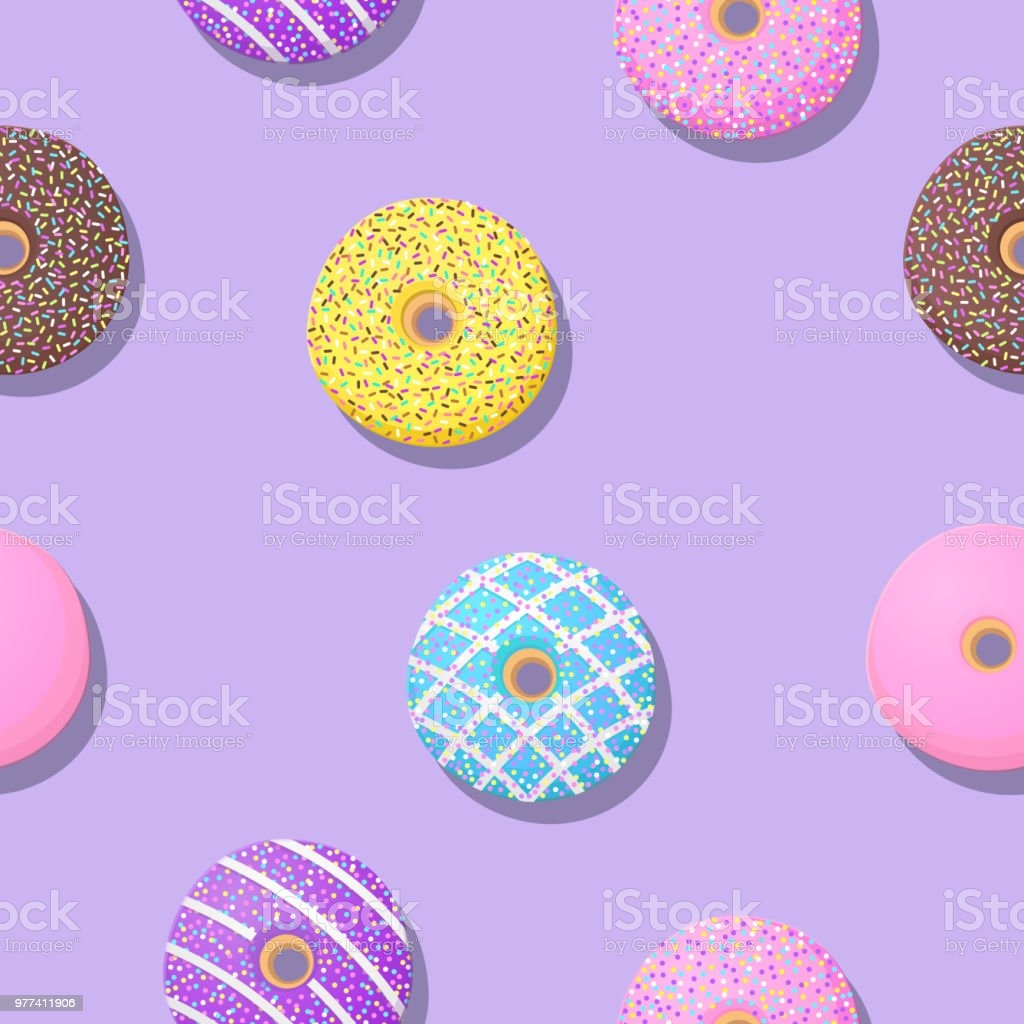 Cute Donut Seamless Patterns On Purple Background For Printing And Website Banner Design Wallpaper