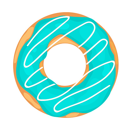 Cute donut with blue glaze isolated on white . Yummy doughnut icon. Vector template for poster, banner, flyer, sticker, t-shirt, postcard, logo design, etc