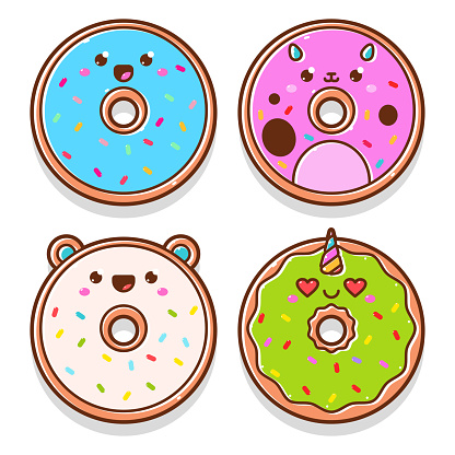 Cute donuts vector cartoon characters set isolated on a white background.