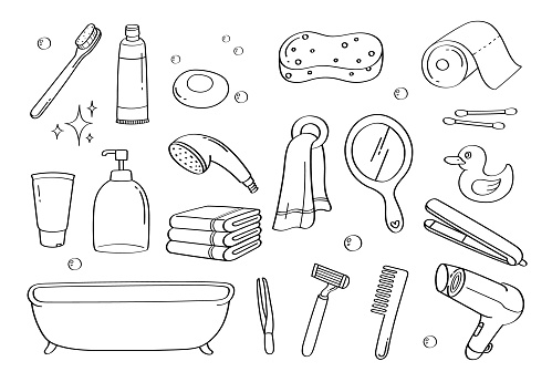 Cute doodle bathroom accessories cartoon icons and objects.