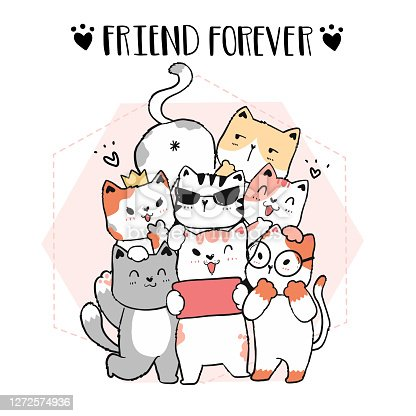cute doodle cat friend gang take selfie, friend forever, graphic vector hand drawn, idea for cut file and silhouette, sublimation, greeting card, wall art, animal lover gift