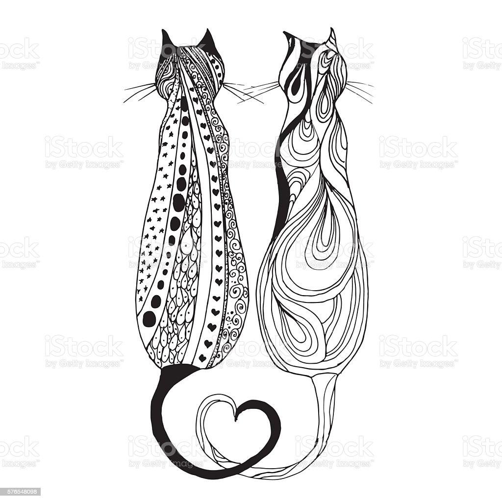 Cute Doodle Cat Vector Hand Drawn Kitten With Decorative Ornament