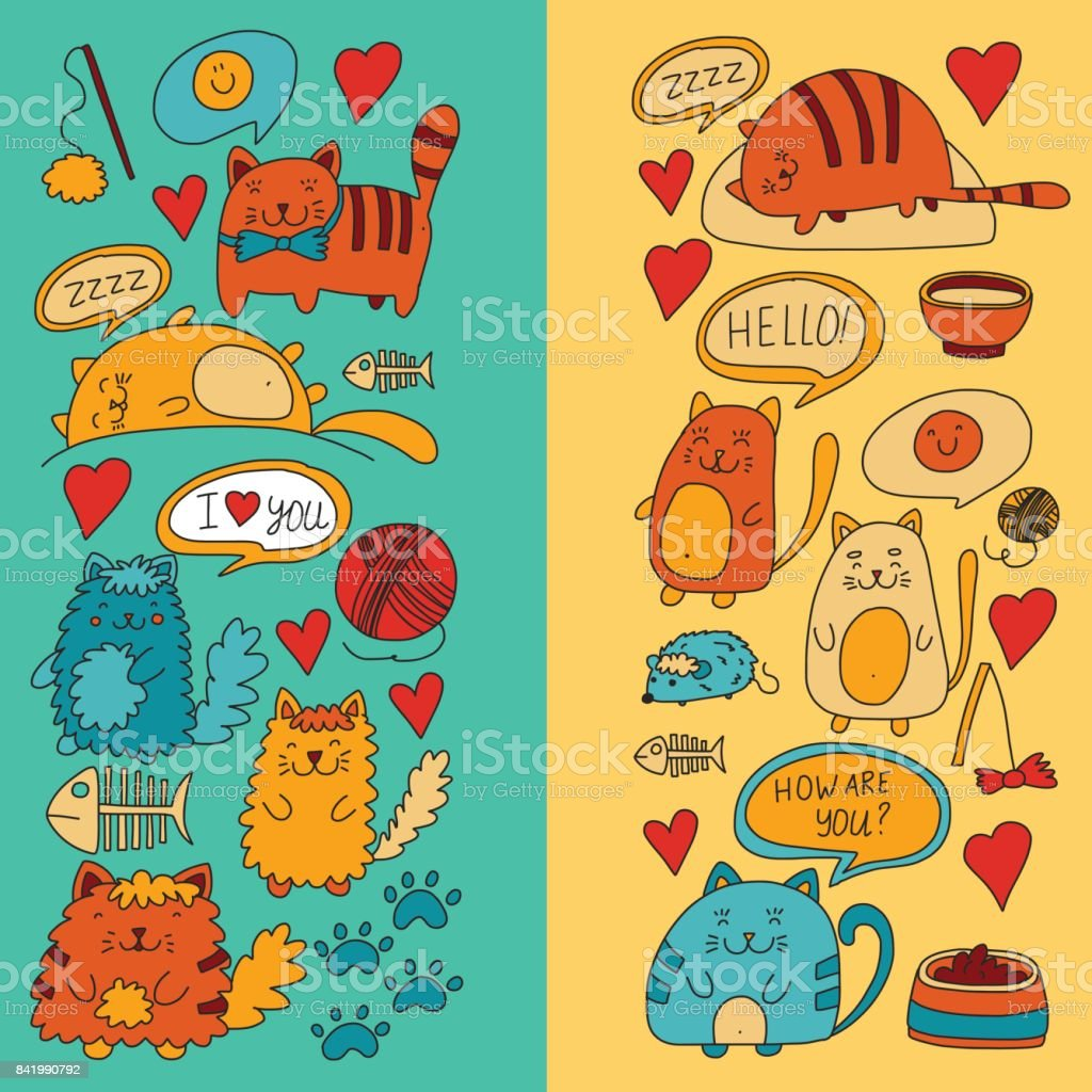 Cute Doodle Cats Kitty Domestic Cats Vector Sets With Cute Kittens ...