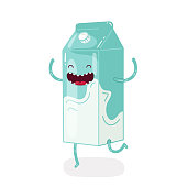 Cute doodle character packing of milk on white background. Vector isolated icon