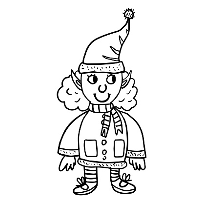 Cute doodle Christmas and Happy New Year female elf in Santa hat