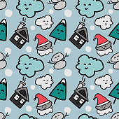 Cute doodle christmas pattern with funny character. Vector illustration for children fashion print and wrapping.
