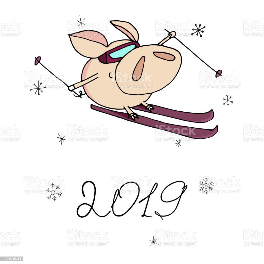 Skifahren über Weihnachten 2019.Niedliche Doodle Weihnachten Skifahren Piggy 2019 Jahr Symbol Stock