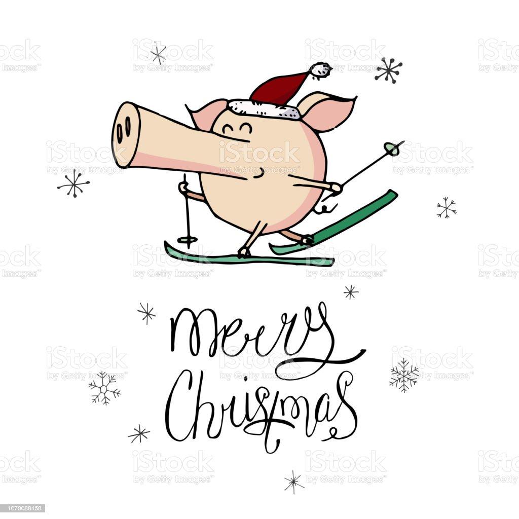 Skifahren über Weihnachten 2019.Niedliche Doodle Weihnachten Skifahren Piggy In Nikolausmütze Symbol