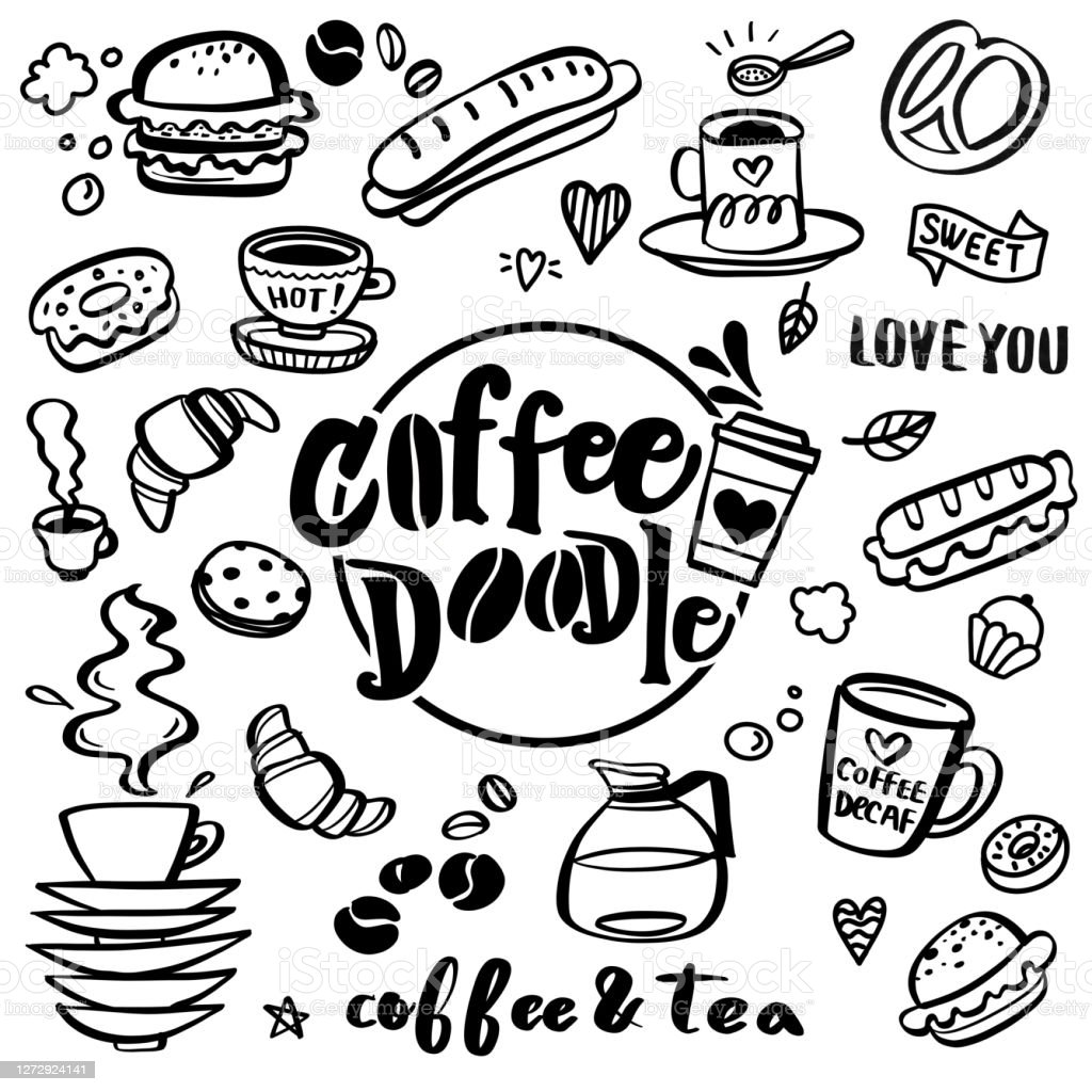 Cute Doodle Coffee Shop Icons Vector Outline Coffee And Tea Drawings For Cafe Menu Stock Illustration Download Image Now Istock