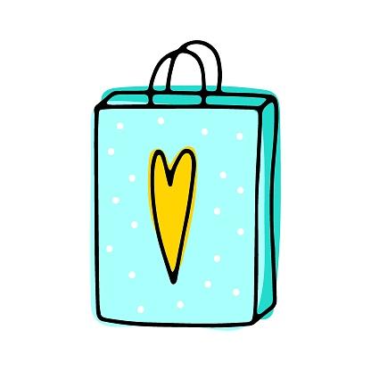 Cute doodle color paper shop packages icon
