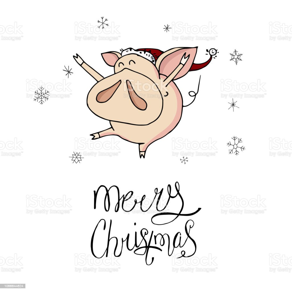 4821086d14b67 Cute doodle dancing christmas piggy with santa hat and snowflakes. Symbol  of 2019 year.