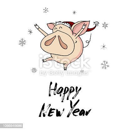 95645141a89cf Cute Doodle Dancing Christmas Piggy With Santa Hat And Snowflakes Symbol Of 2019  Year Stock Vector Art   More Images of Animal - iStock