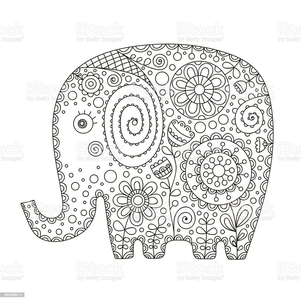 Cute Doodle Elephant Stock Vector Art & More of Adult iStock