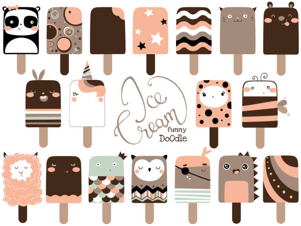 Cute doodle ice cream set. Funny vector illustration - illustrazione arte vettoriale