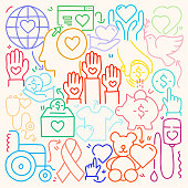 Cute Doodle Illustration with Charity and Donation Hand Drawn Colorful Symbols.
