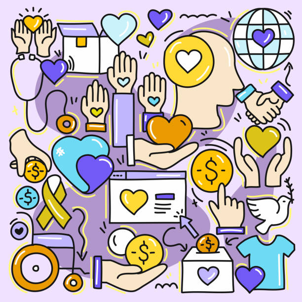 Cute Doodle Illustration with Charity and Donation Hand Drawn Colorful Symbols. Cute Doodle Illustration with Charity and Donation Hand Drawn Colorful Symbols. giving tuesday 2020 stock illustrations