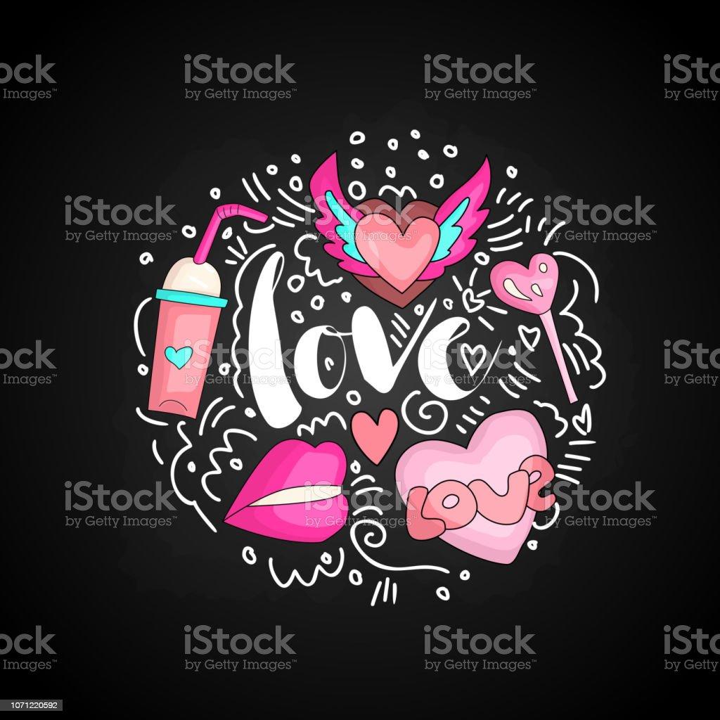 Texte Amour De Doodle Mignon En Forme Ronde De Couleur