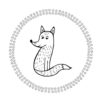 Cute doodle mandala with stars and fox on background. Hand drawn vector illustration for coloring page and artbooks for adults and kids and design.