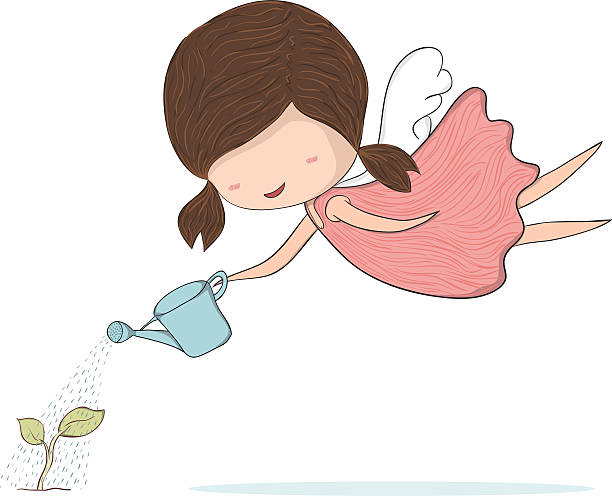 cute doodle of a girl angel girl watering sapling - gartenengel stock-grafiken, -clipart, -cartoons und -symbole