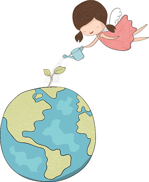 cute doodle of a girl angel watering sapling of world - gartenengel stock-grafiken, -clipart, -cartoons und -symbole