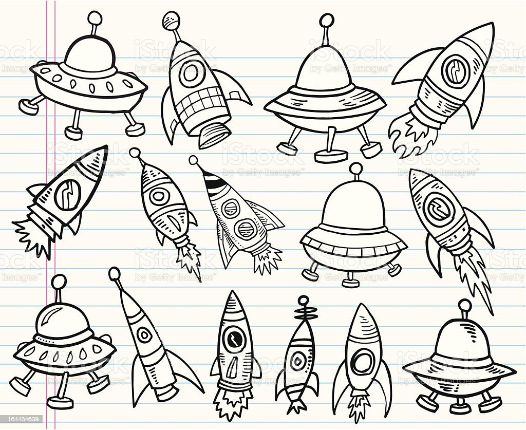 Cute Doodle Outer Space Set Stock Illustration