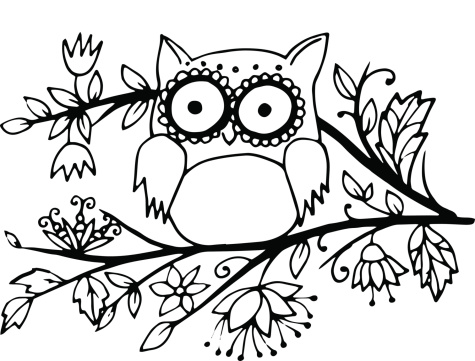 Cute Doodle Owl In Outlines Stock Illustration - Download ...