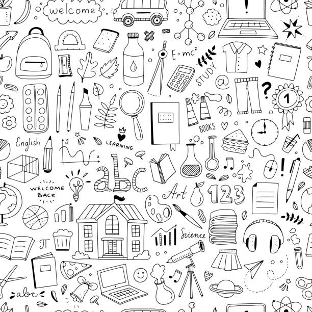 Cute doodle school pattern. Seamless background with school and science objects and illustrations in hand drawn style Cute doodle school pattern. Seamless background with school and science objects and illustrations in hand drawn style backgrounds clipart stock illustrations