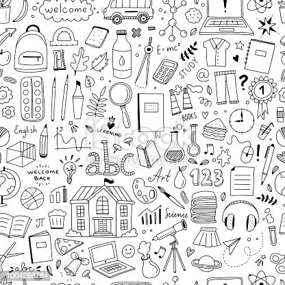 Cute Doodle School Pattern Seamless Background With School And Science Objects And Illustrations ...