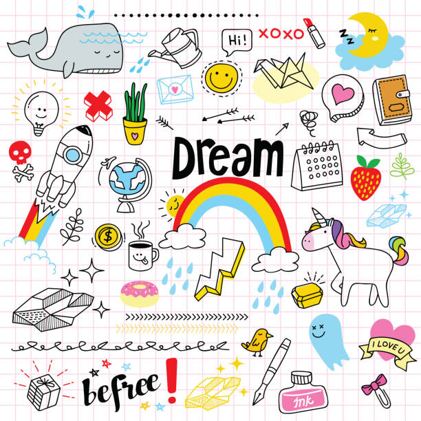 cute doodle set - doodles stock illustrations, clip art, cartoons, & icons