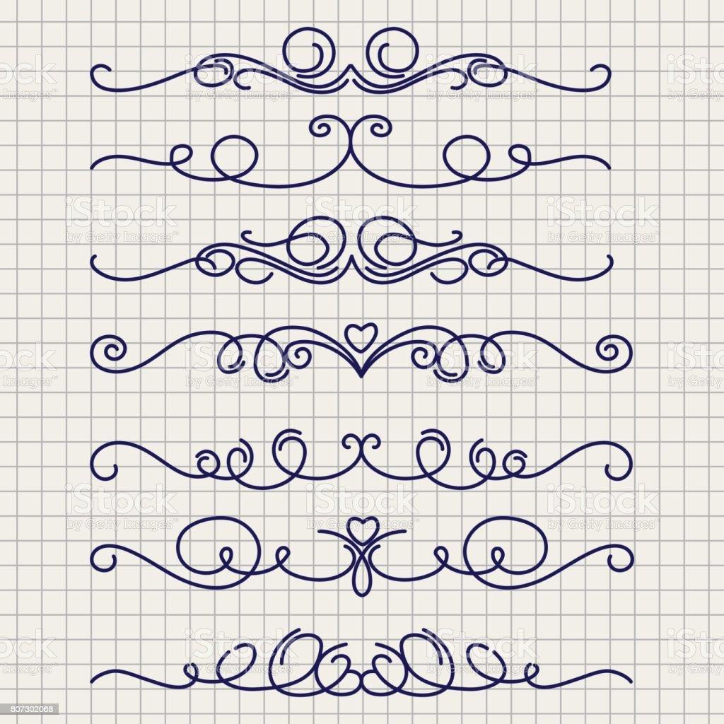 Cute doodle thin line borders vector art illustration