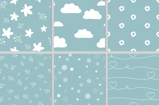 cute doodle white on green blue background seamless pattern