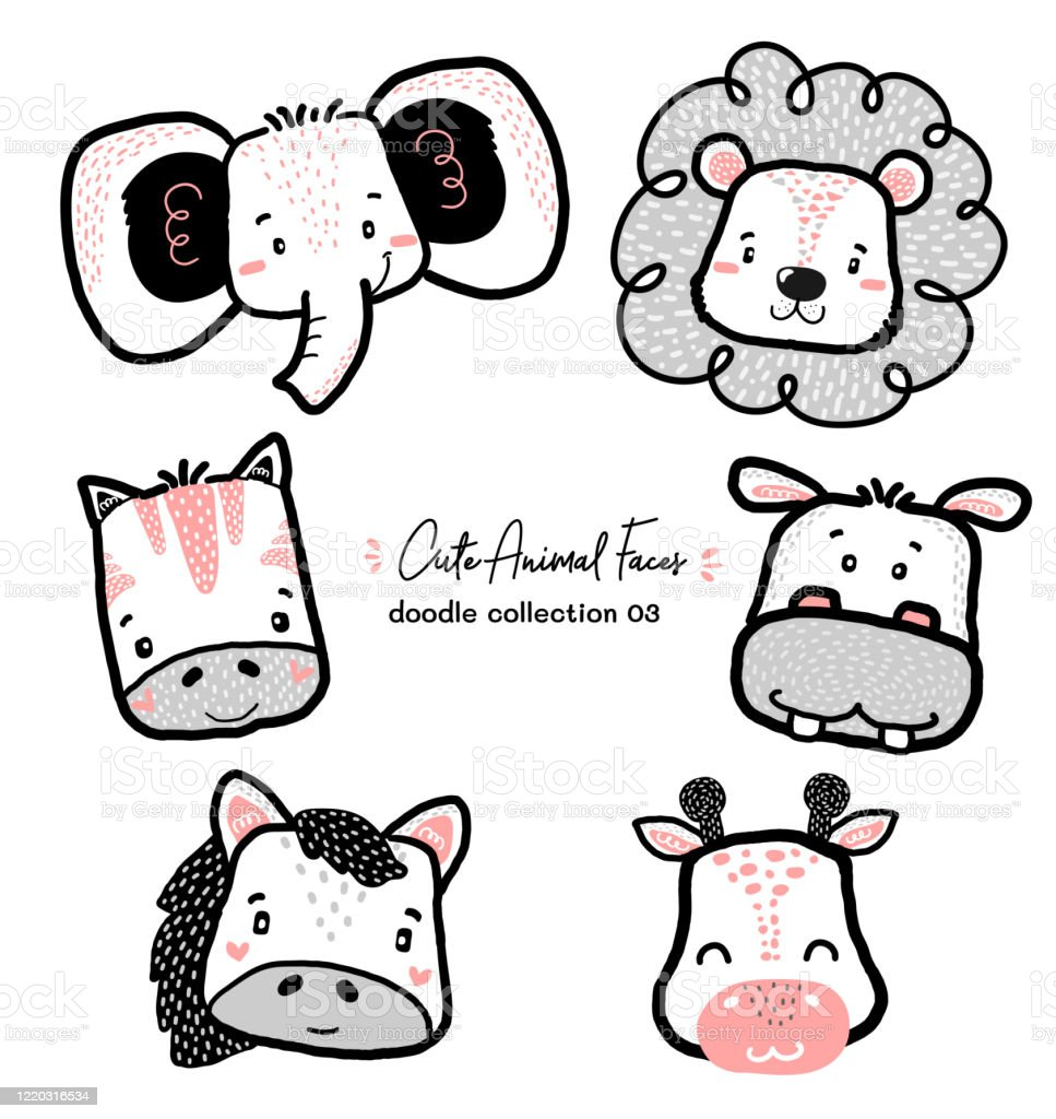 Cute Doodle Wild Animal Face Set Nursery Kid Outline Drawing Horse Zebra Elephant Lion Giraffe Hippo Stock Illustration Download Image Now Istock