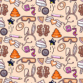 Cute doodles vector pink seamless pattern
