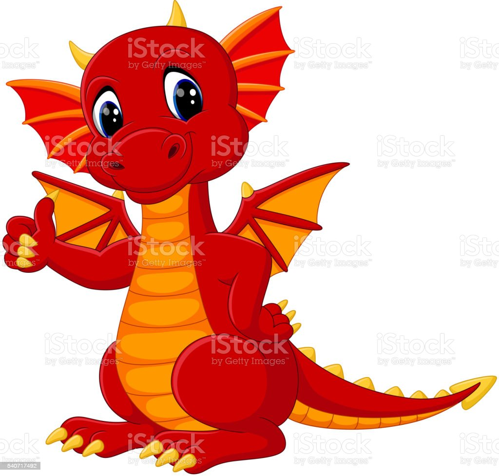 cute dragon cartoon vector art illustration